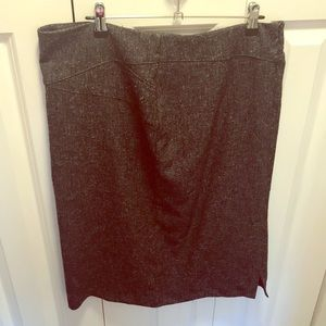 Long grey speckled pencil skirt